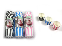 Cupcake Cups Stripe Pk 25 Black