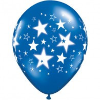 60cm Stars & Stars Around Jewel Radiant Latex Balloon uninflated