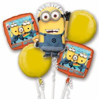 Despicable Me Birthday Bouquet 5 Foil Balloons