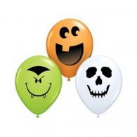 12cm Halloween Face Assortment Lime Green, Orange & White Latex Balloons Pack of 100