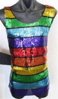 Sequin Mens Singlet Rainbow