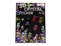 TEDDY BEAR 3D CRYSTAL STICKERS PK 5