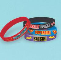 Super Hero Girls Rubber Bracelet Favors Assorted Designs Pack of 6