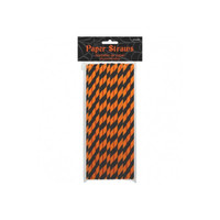 Straws Orange Black Stripes Halloween