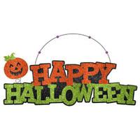 Happy Halloween Glitter Sign  Wire Hanger