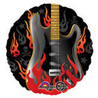 Rockstar Rock On Flaming Guitar Foil Balloon