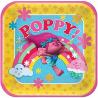 Trolls Dinner Plates Square Paper Poppy