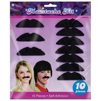 Disco Fever Moustaches Black Felt