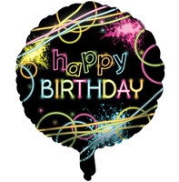 Glow Party Happy Birthday Foil Balloon