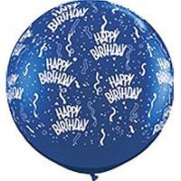 Large Happy Birthday Sapphire Blue Balloon 90cm Latex