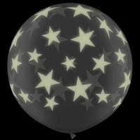 Large Glow in the Dark Stars 90cm Latex Balloon Inflated on weight