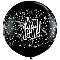 Large Happy New Year Onyx Black 90cm Latex Balloon Inflated on weight