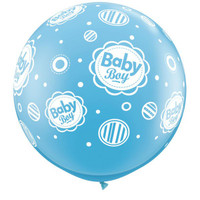 Large Baby Boy Dots 90cm Latex Balloon Inflated On Weight
