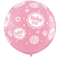 Large Baby Girl Dots 90cm Latex Balloon Inflated On Weight