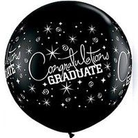 Large Congratulations Graduate Black 90cm Latex Balloon Inflated On Weight
