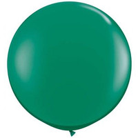 Large Emerald Green 90cm Latex Balloon Inflated On Weight
