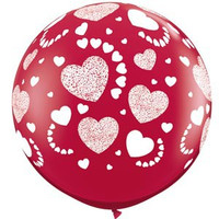 Large Etched Hearts Ruby Red 90cm Latex Balloon Inflated On Weight