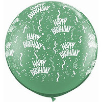 Large Happy Birthday Emerald Green 90cm Latex Balloon Inflated On Weight