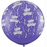 Large Happy Birthday Purple 90cm Latex Balloon Inflated On Weight