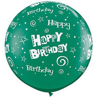Large Happy Birthday Swirls Green 90cm Latex Balloon Inflated On Weight