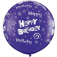 Large Happy Birthday Swirls Purple 90cm Latex Balloon Inflated On Weight