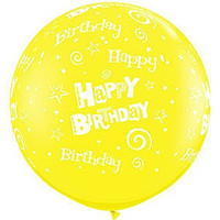 Large Happy Birthday Swirls Yellow 90cm Latex Balloon Inflated On Weight