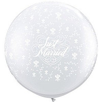 Large Just Married 90cm Latex Balloon Inflated On Weight