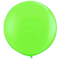Large Lime Green 90cm Latex Balloon Inflated On Weight