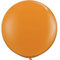 Large Mandarin Orange 90cm Latex Balloon Inflated On Weight