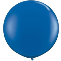 Large Sapphire Blue 90cm Latex Balloon Inflated On Weight