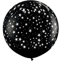 Large Small Stars Onyx 90cm Latex Balloon Inflated On Weight