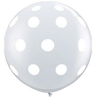 Large Polka Dot Clear 90cm Latex Balloon Inflated On Weight