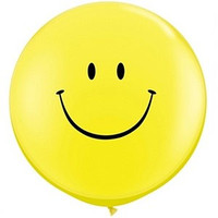 Large Yellow Smile Face Balloon 90cm Latex