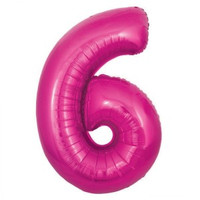 Hot Pink Number 6 Megaloon Balloon