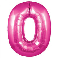 Hot Pink Number 0 Megaloon Balloon