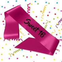 Hot Pink Sweet 16 Sash