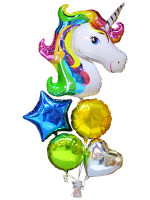 UNICORN with Heart  and Star Foil Balloon Bouquet