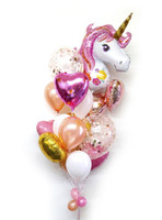UNICORN with Confetti, Heart, Round Foils Balloons Bouquet