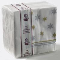 2PLY LUNCH NAPKIN  GOLD & SILVER STARS 50