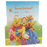 WINNIE THE POOH INVITES with Envelopes