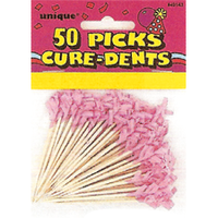 Pink Frill Food Picks Pk 50