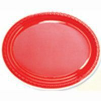 Plate Oval Heavy Duty Red Pack of 25