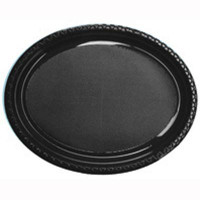 Plate Oval Heavy Duty Black Pack of 25