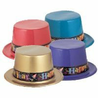 A Top Hat Plastic New Years Band Assorted COLOURS