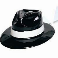 Hat Gangster Black with White Band