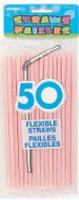 FLEXI STRAWS - PASTEL PINK 50