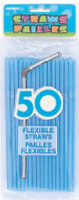 FLEXI STRAWS - BABY BLUE 50