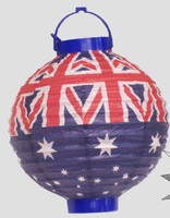 AUSSIE PAPER LANTERN WITH LIGHT 20CM X 20 CM