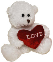 BEAR WITH HEART WHITE 15 CM