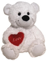 BEAR JELLY WITH HEART WHITE 40 CM